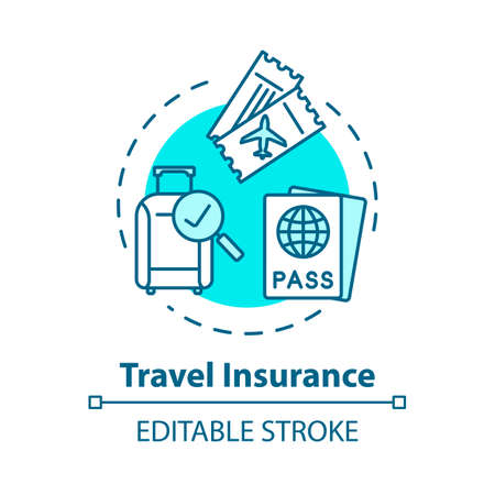 Travel insurance concept icon. Coverage for international tourism. Personal health policy. Safety plan idea thin line illustration. Vector isolated outline RGB color drawing. Editable stroke Ilustração
