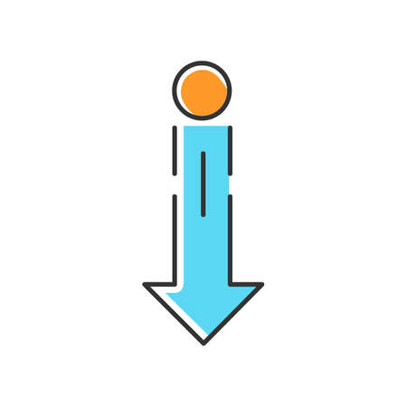 Down arrow and circle blue RGB color icon. Vertical scrolling gesture for touch screen. Scrolldown indicator, website pointer. Downloading process, web cursor. Isolated vector illustration