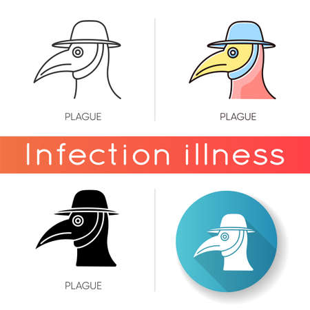 Plague icon. Linear black and RGB color styles. Endemic viral illness, dangerous infectious disease, contagious sickness. Healthcare and medicine. Medieval doctor mask isolated vector illustrations