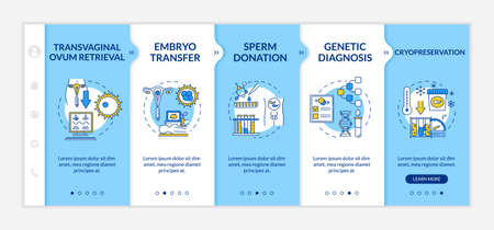 Reproductive technology onboarding vector template. Transvaginal ovum retrieval. Cryopreservation. Responsive mobile website with icons. Webpage walkthrough step screens. RGB color concept