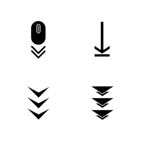 Scrolling down and uploading indicators black glyph icons set on white space. Arrows interface navigation buttons. Website page cursor. Silhouette symbols. Vector isolated illustration