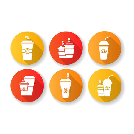 Coffee to go flat design long shadow glyph icons set. Disposable plastic cups with caffeine drinks. Take out cold and hot beverages. Latte, cappuccino mugs. Silhouette RGB color illustrations