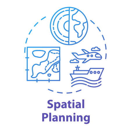 Spatial planning concept icon. Distribution and regulation. Public sector. Region development. Landscape architecture. Building idea thin line illustration. Vector isolated outline RGB color drawing