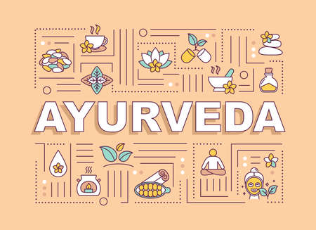 Ayurveda word concepts banner. Ayurvedic medicine. Holistic healing. Illness prevention. Infographics with linear icons on orange background. Isolated typography. Vector outline RGB color illustration Vetores