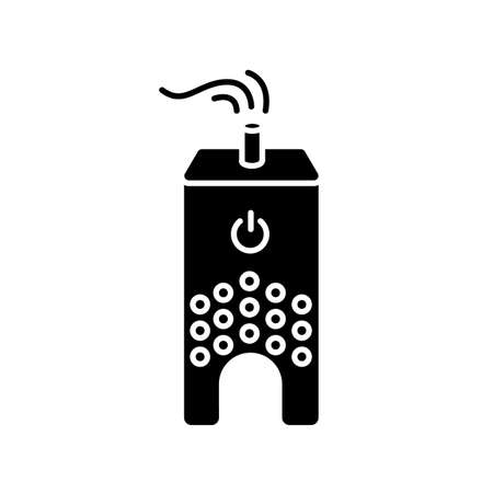 Ultrasonic humidifier black glyph icon. Home ionizer, silent mode device, water evaporator, asthma prophylaxis and healthcare appliance. Silhouette symbol on white space. Vector isolated illustration