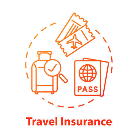 Travel insurance concept icon. Personal healthcare. Policy coverage for international tourism. Pre-paid service. Safety plan idea thin line illustration. Vector isolated outline RGB color drawing