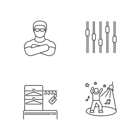 Nightclub pixel perfect linear icons set. Night club customizable thin line contour symbols. Bouncer, wardrobe, dance floor and equalizer isolated vector outline illustrations. Editable stroke Illustration