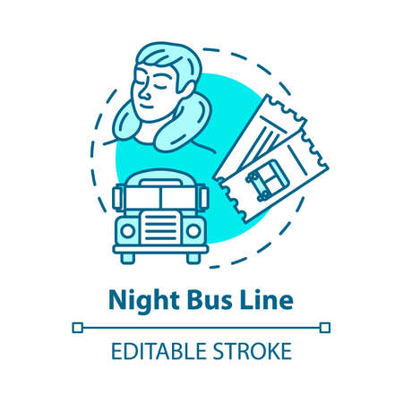 Night bus line concept icon. Rest on the way idea thin line illustration. Sleeping tourist, international autobus and travel tickets vector isolated outline RGB color drawing. Editable stroke