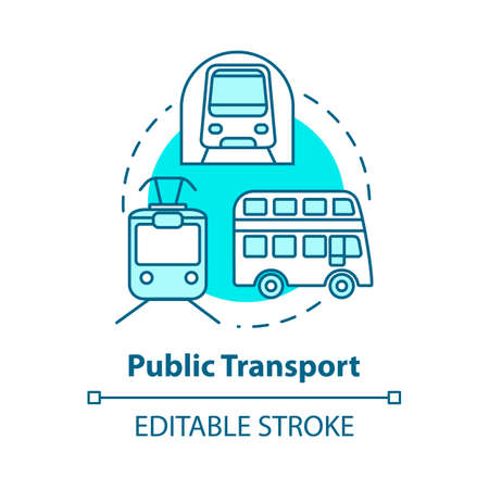 Public transport concept icon. Affordable travel means, budget tourism idea thin line illustration. Subway train, bus and tram vector isolated outline RGB color drawing. Editable stroke