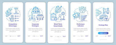 Competitiveness onboarding mobile app page screen with concepts. Marketing and management. Optimization walkthrough 5 steps graphic instructions. UI vector template with RGB color illustrations 일러스트