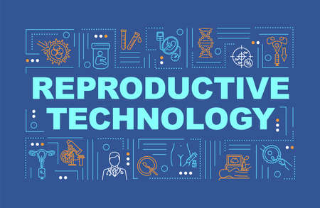 Reproductive technology word concepts banner. Artificial insemination. Biochemistry. Infographics with linear icons on blue background. Isolated typography. Vector outline RGB color illustration Çizim
