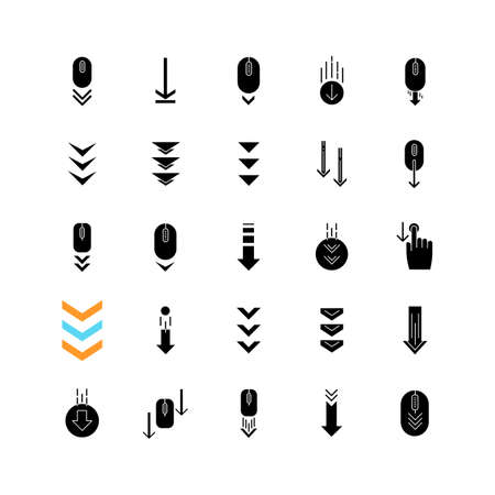 Scroll down black glyph icons set on white space. Internet page browsing and download indicators. Downward arrows. PC mouse with arrowheads. Silhouette symbols. Vector isolated illustration