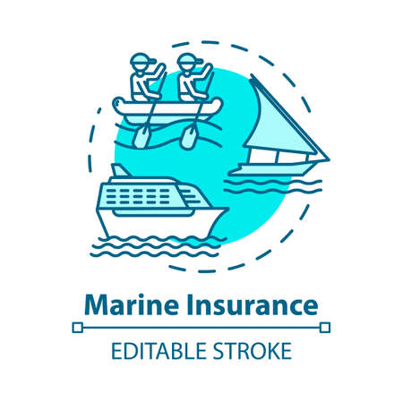 Marine insurance concept icon. Safe shipping. Nautical vehicle protection. Logistic business. Cargo safety idea thin line illustration. Vector isolated outline RGB color drawing. Editable stroke Vektorové ilustrace