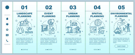 Landscape planning onboarding vector template. Engineering and architecture. Infrastructure building. Responsive mobile website with icons. Webpage walkthrough step screens. RGB color concept