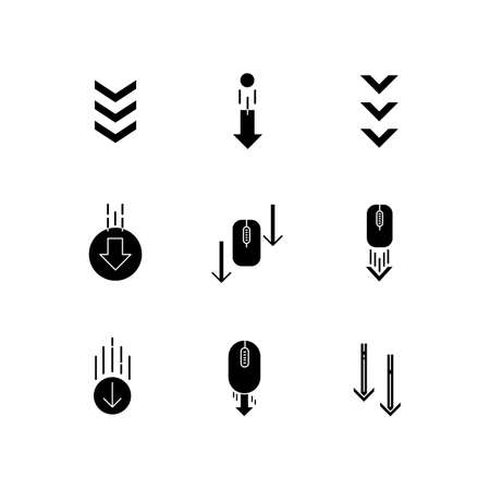 Scrolling down arrows black glyph icons set on white space. Computer mouse and arrowheads in circles buttons. Download indicators. Silhouette symbols. Vector isolated illustration