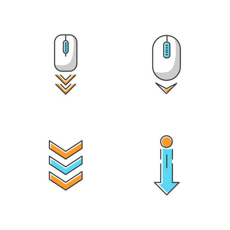 Scrolldown indicators RGB color icons set. Computer mouse and arrowheads. Swipe down gesture. Moving arrows navigational buttons. Website page browsing cursor. Isolated vector illustrations Çizim