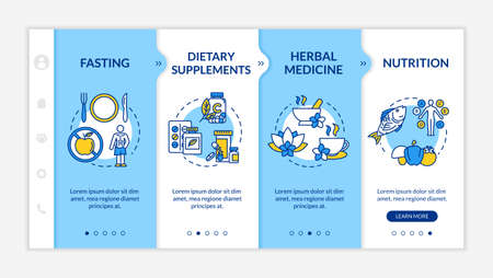 Healthy nutrition onboarding vector template. Balanced nutrition plan and dietary supplements responsive mobile website with icons. Webpage walkthrough step screens. RGB color concept Vetores
