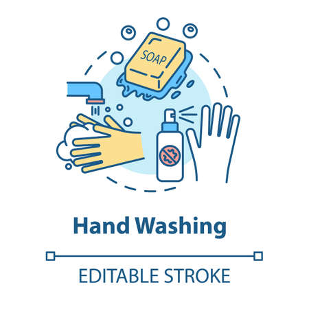 Hand washing concept icon. Sanitary and safety. Rinsing with water. Cleaning with soap. Hygiene idea thin line illustration. Vector isolated outline RGB color drawing. Editable stroke