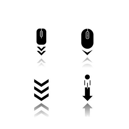 Scrolldown indicators drop shadow black glyph icons set. Computer mouse and arrowheads. Moving arrows navigational buttons. Website page browsing cursor. Isolated vector illustrations on white space