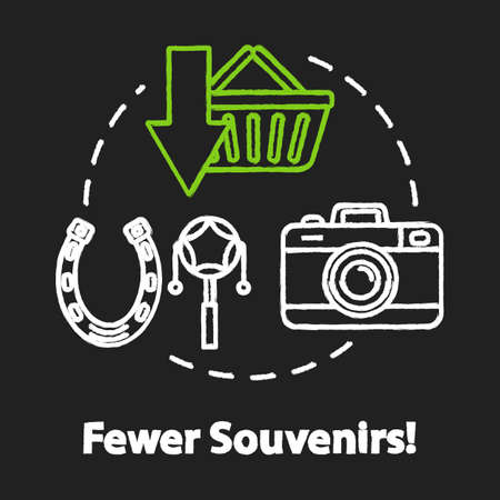 Fewer souvenirs chalk RGB color concept icon. Money saving travel, budget tourism idea. Abstention from purchases and overspending. Vector isolated chalkboard illustration on black background Ilustração