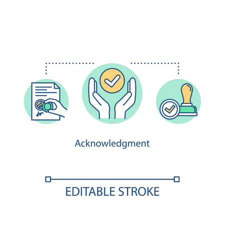 Acknowledgement concept icon. Notary service. Seal deal on document. Approve certificate. Common law idea thin line illustration. Vector isolated outline RGB color drawing. Editable stroke 스톡 콘텐츠 - 140755497