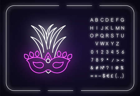Masquerade mask neon light icon. Traditional headwear with palm leaves. National holiday parade. Outer glowing effect. Sign with alphabet, numbers and symbols. Vector isolated RGB color illustration