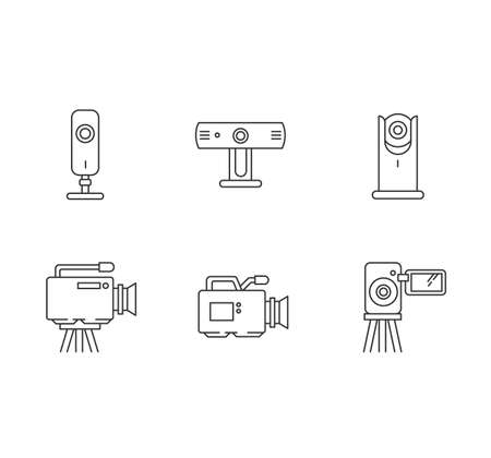 Webcams pixel perfect linear icons set. Digital video cameras. Online chatting, conference. Surveillance. Customizable thin line contour symbols. Isolated vector outline illustrations. Editable stroke