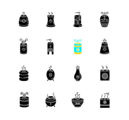 Air purifiers, humidifiers, ionizers black glyph icons set on white space. Climate control devices, household appliances, indoor humidity regulators. Silhouette symbols. Vector isolated illustration