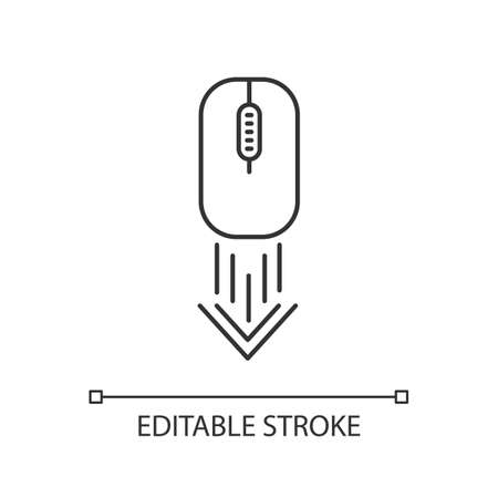 Scrolling down computer mouse pixel perfect linear icon. Scrolldown gesture indicator. Web cursor. Thin line customizable illustration. Contour symbol. Vector isolated outline drawing. Editable stroke