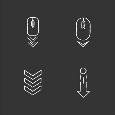 Scrolldown indicators chalk white icons set on black background. Computer mouse and arrowheads. Swipe down gesture. Website page browsing cursor. Isolated vector chalkboard illustrations