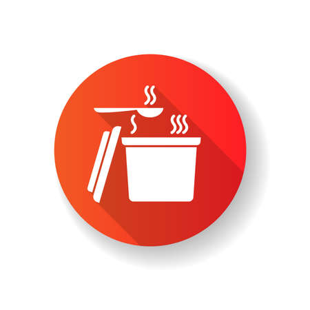 Takeout hot food container red flat design long shadow glyph icon. Takeaway soup pack with spoon. Convenience fast food, instant carry out meal plastic package. Silhouette RGB color illustration