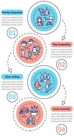 Gender inequality ans sexism vector infographic template. Women discrimination design elements. Data visualization with 4 steps. Process timeline chart. Workflow layout with linear icons Stock Illustratie