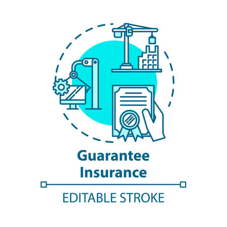 Guarantee insurance concept icon. Finance document. Safety coverage for property. Business contract idea thin line illustration. Vector isolated outline RGB color drawing. Editable stroke Vektorgrafik