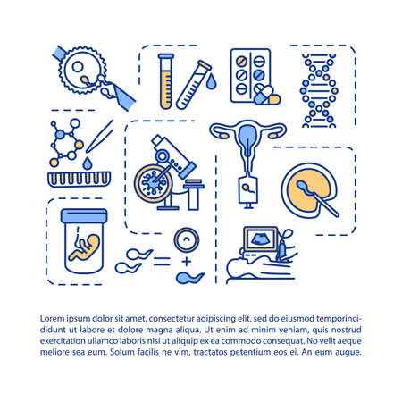 Assisted reproductive technology concept icon with text. Fertility medication. Alternative pregnancy. PPT page vector template. Brochure, magazine, booklet design element with linear illustrations