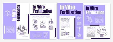 In vitro fertilization brochure template. Genetic engineering. Flyer, booklet, leaflet print, cover design with linear icons. Vector layouts for magazines, annual reports, advertising posters
