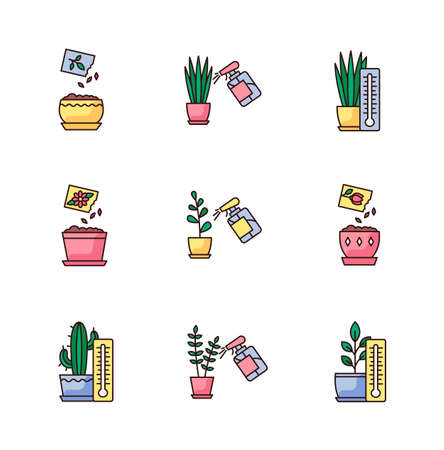 Houseplant care RGB color icons set. Indoor gardening process. Domestic plant cultivation. Spraying, misting plants. Planting seeds. Providing air temperature conditions. Isolated vector illustrations Иллюстрация