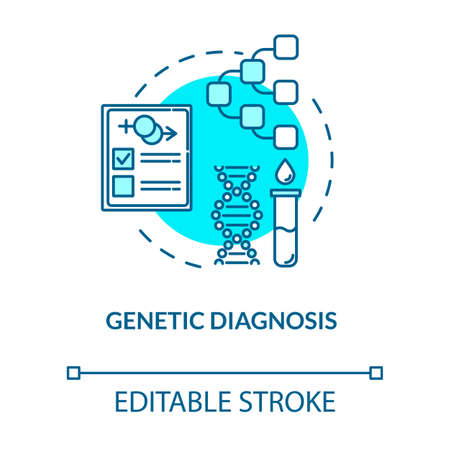 Genetic diagnosis turquoise concept icon. Paternity assistance. Laboratory analysis. Reproductive technology idea thin line illustration. Vector isolated outline RGB color drawing. Editable stroke