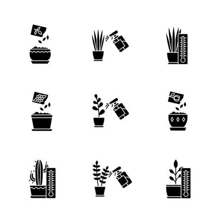 Houseplant care black glyph icons set on white space. Plant cultivation. Spraying, misting. Planting seeds. Providing air temperature conditions. Silhouette symbols. Vector isolated illustration