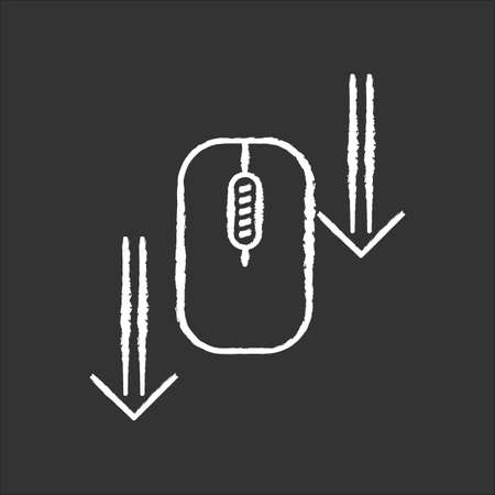 Scroll down mouse chalk white icon on black background. Internet page browsing arrows. Scrolldown gesture indicator. Website pointer. Web cursor. Isolated vector chalkboard illustration
