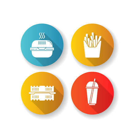 Takeaway food packages flat design long shadow glyph icons set. Burger cardboard box, empty plastic container, disposable cup with straw, french fries pack. Silhouette RGB color illustrations