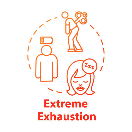 Extreme exhaustion concept icon. Sleep disorder. Overwork and burnout. Cold symptom. Chronic weakness. Fatigue idea thin line illustration. Vector isolated outline RGB color drawing  イラスト・ベクター素材