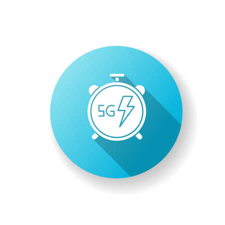 5G stopwatch blue flat design long shadow glyph icon. High performance. Low latency connection. Cellular network. Quick data transmission. Wireless technology. Silhouette RGB color illustration