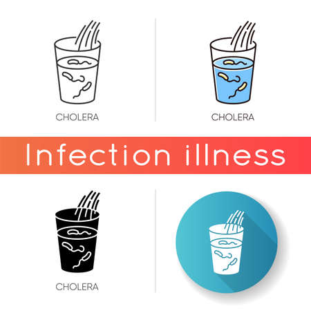 Cholera icon. Linear black and RGB color styles. Endemic bacterial infection, infectious disease. Healthcare and medicine. Glass with dirty, contaminated drinking water isolated vector illustrations