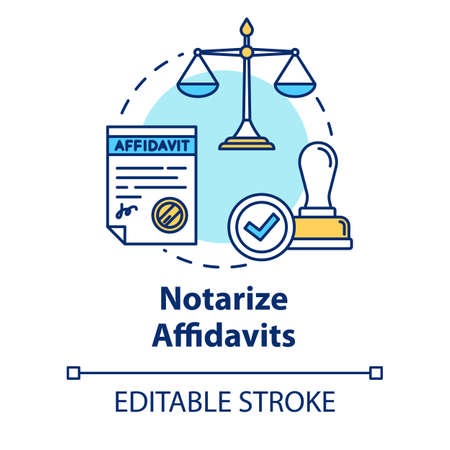 Notarize affidavits concept icon. Ownership claim. Jury verdict. Courthouse process. Notary service idea thin line illustration. Vector isolated outline RGB color drawing. Editable stroke Illusztráció