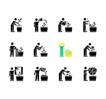 Houseplant care black glyph icons set on white space. Domestic plant cultivation. Repotting, fertilizing. Planting flower seeds. Watering, spraying. Silhouette symbols. Vector isolated illustration