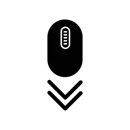 Scroll down mouse black glyph icon. Internet page browsing double arrow. Modern computer equipment with buttons and wheel. PC mouse. Silhouette symbol on white space. Vector isolated illustration
