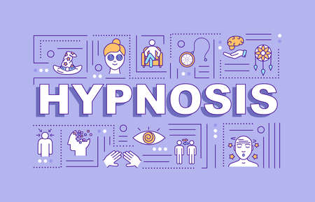 Hypnosis word concepts banner. Hypnotherapy. Subconsciousness. Infographics with linear icons on violet background. Isolated typography. Vector outline RGB color illustration