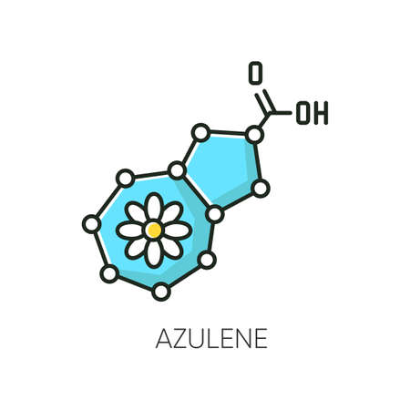 Azulene RGB color icon. Scientific compound. Chemical skincare formula. Blue pigment. Molecular structure. Atomic chain. Korean beauty cosmetic ingredient. Isolated vector illustration