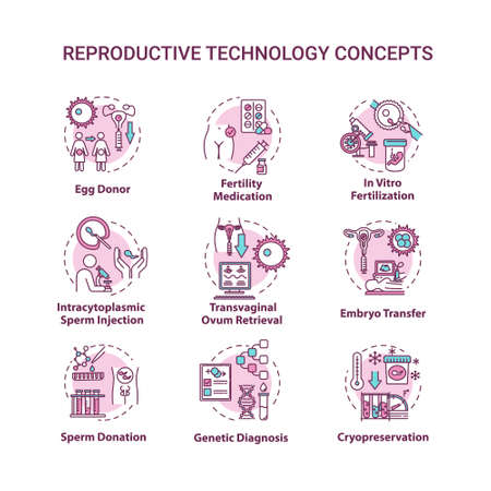 Reproductive technology concept icons set. In vitro fertilization. Egg, sperm donation. Alternative pregnancy idea thin line RGB color illustrations. Vector isolated outline drawings. Editable stroke
