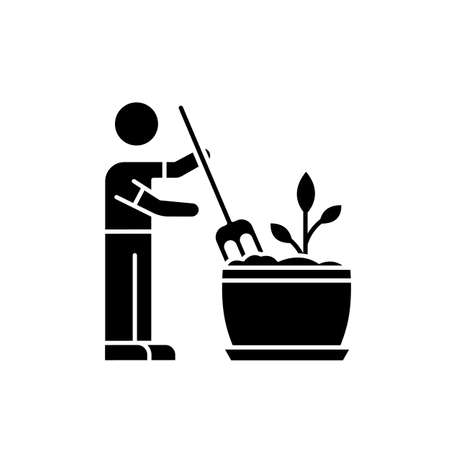 Soil fluffing black glyph icon. Plowing, ploughing earth. Houseplant care. Aeration. Plant growing, planting process. Indoor gardening. Silhouette symbol on white space. Vector isolated illustration